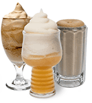three frozen cocktails with a beer slush
