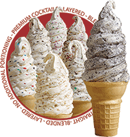 A crunch soft serve cone with different flavors