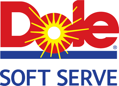 A Dole Soft Serve logo in red, yellow and blue