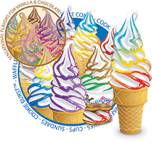 various flavor burst cones with text