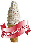 A CrunchiCreme soft serve cone with text