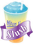 A slush image with text