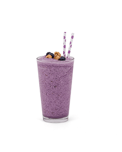A blueberry smoothie in a glass with no background