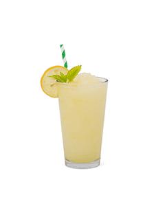 Lemon slush in a glass with no background