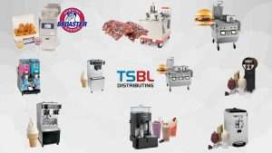Various equipment with food it prepares with our logo in the middle