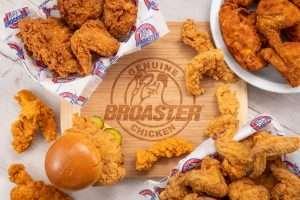 Broasted Chicken fingers, bone in chicken and sandwich surround's logo